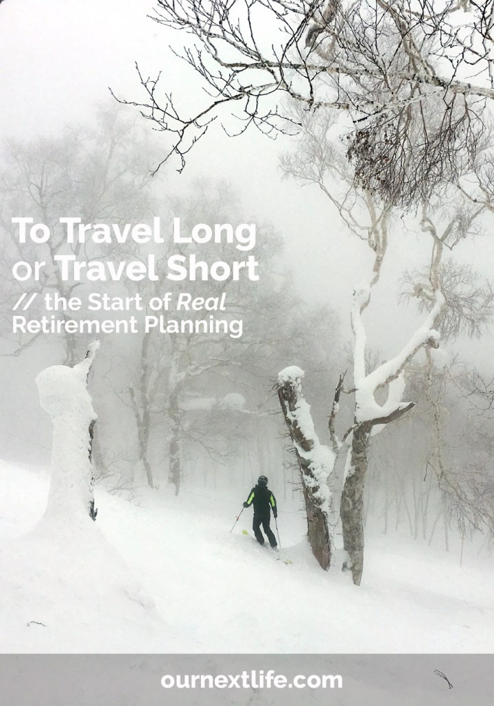 OurNextLife.com // To Travel Long or Travel Short // The real retirement planning has begun! Now that we're close to our full ER date, we're diving into the travel planning, not just the money allocation.