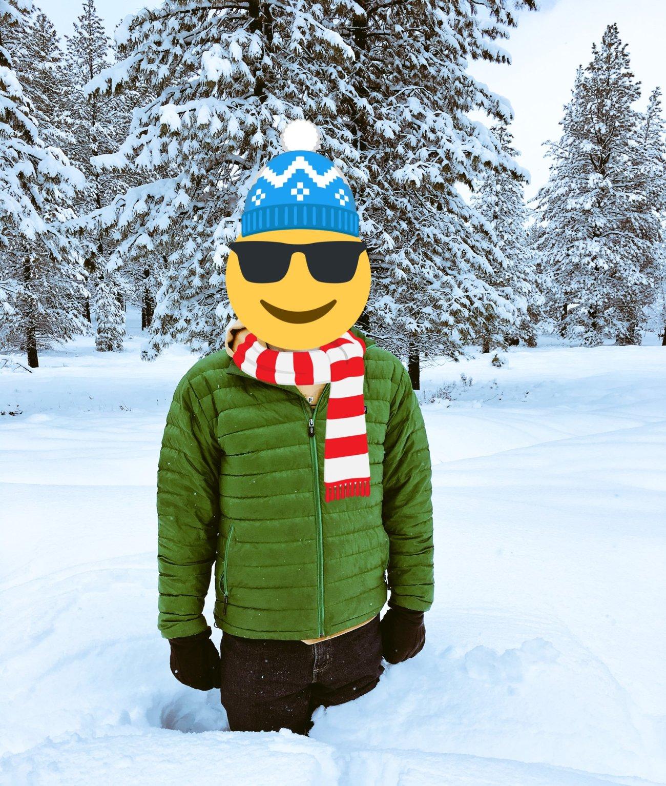 Mr. ONL standing in deep snow