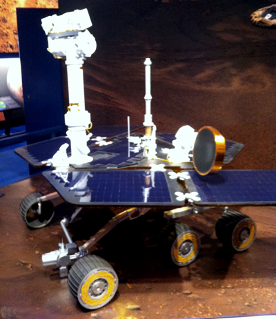 My lack of chill at meeting a full-size Mars rover model manifested as a slightly blurry picture.