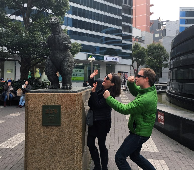 Tanja and Mark in Tokyo with Gojira