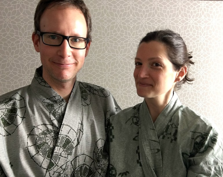 Mark and Tanja of Our Next Life in traditional yukata in Japan