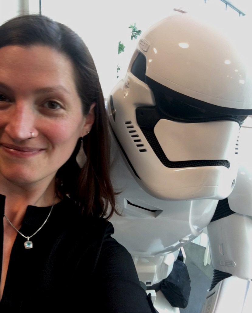Tanja Hester of Our Next Life at SoFi offices -- with a Lucasfilm Stormtrooper! -- in San Francisco
