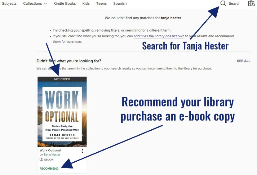 Request that your library buy a copy of Work Optional!