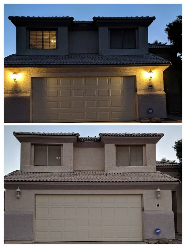 Collage of two photos showing garage lights off and on