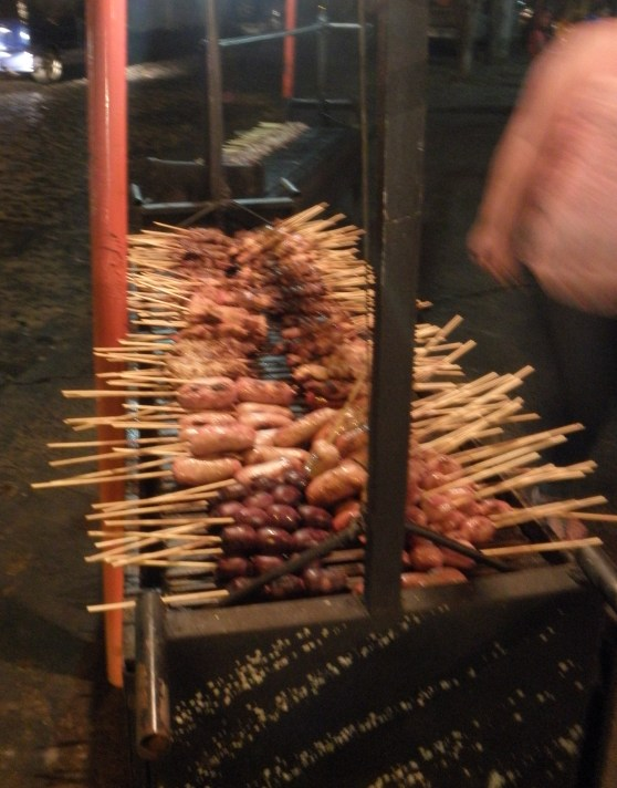 """Meat on a stick"" place - not sure what they are really called but they sure are good"