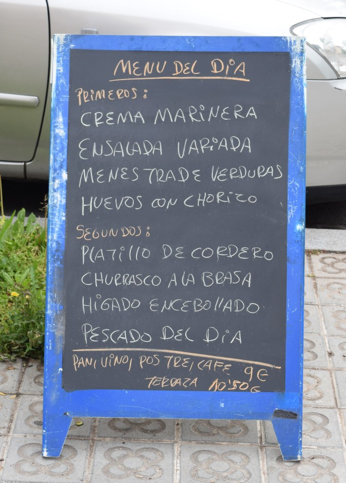 Typical Menu del Dia you see everywhere at restaurants in Spain