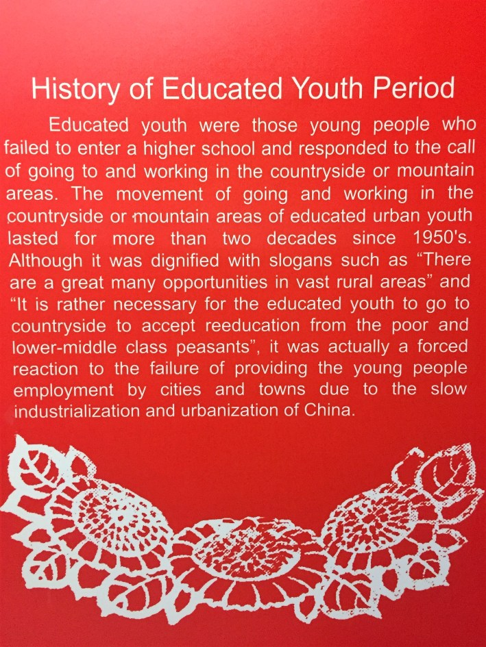 A surprisingly frank placard about the Educated Youth Period