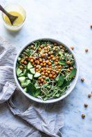 quinoa salad, crispy chickpea salad, vegetarian dinner recipes, gluten free recipes, gluten free, dairy free, gut health, gut healing recipes, plant based recipes, chickpea recipes