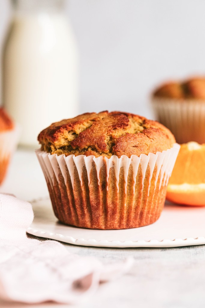 healthy muffin recipe with glass of milk