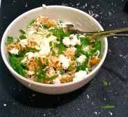 Whole wheat rotini with snow peas, homemade ricotta, fresh lemon, mint, and parmesan.