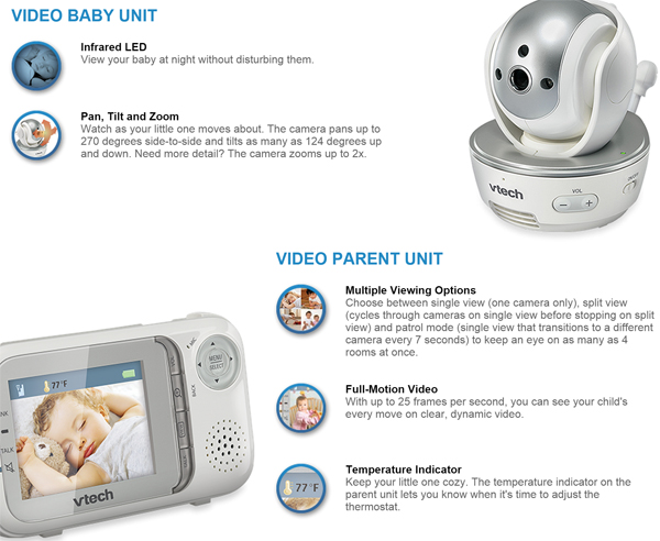 vtech safe sound baby video monitor features