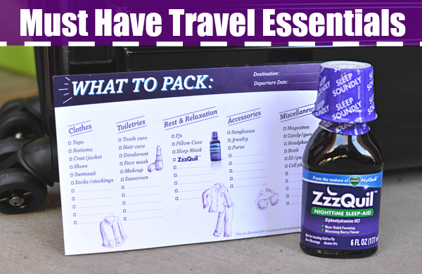 ZzzQuil Travel Checklist what to pack