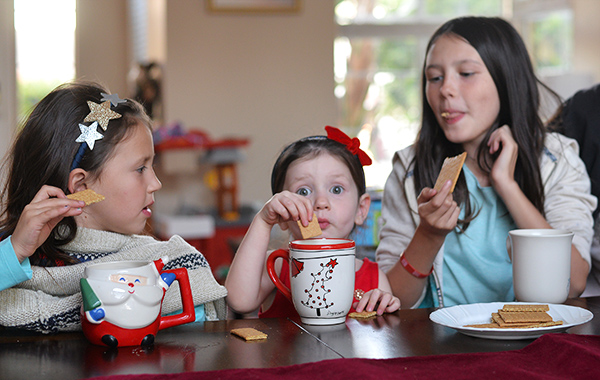 Graham Crackers And Milk kids eating together cookies