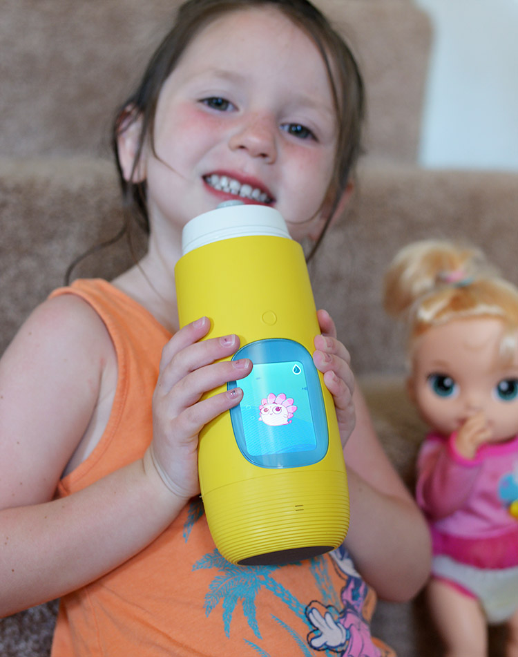 mia with original Gululu kids water bottle