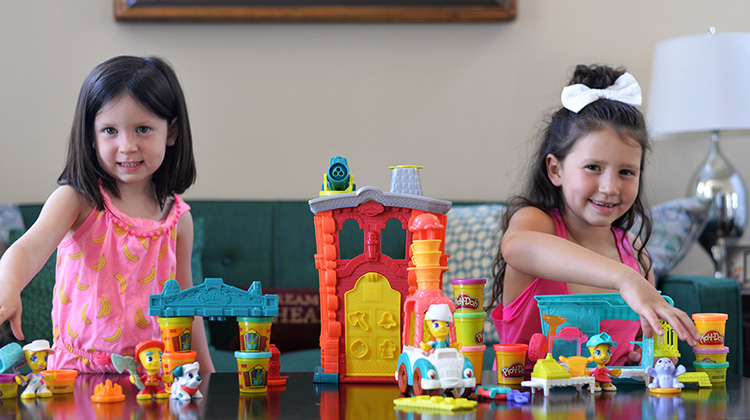 Kids playing with PlayDoh town