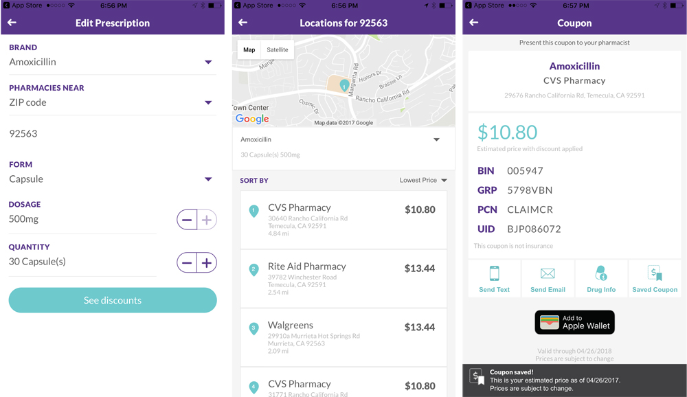 finding cheaper prescriptions with searchrx app