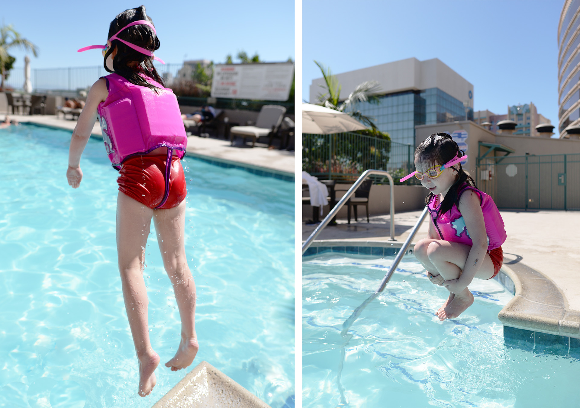 4 year old jumping in pool with life vest swimways
