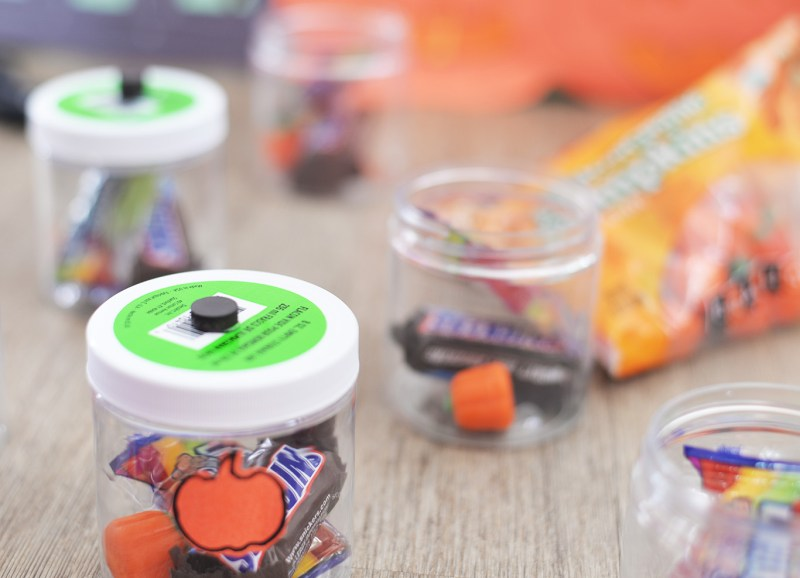 candy filled jars for fishing game halloween