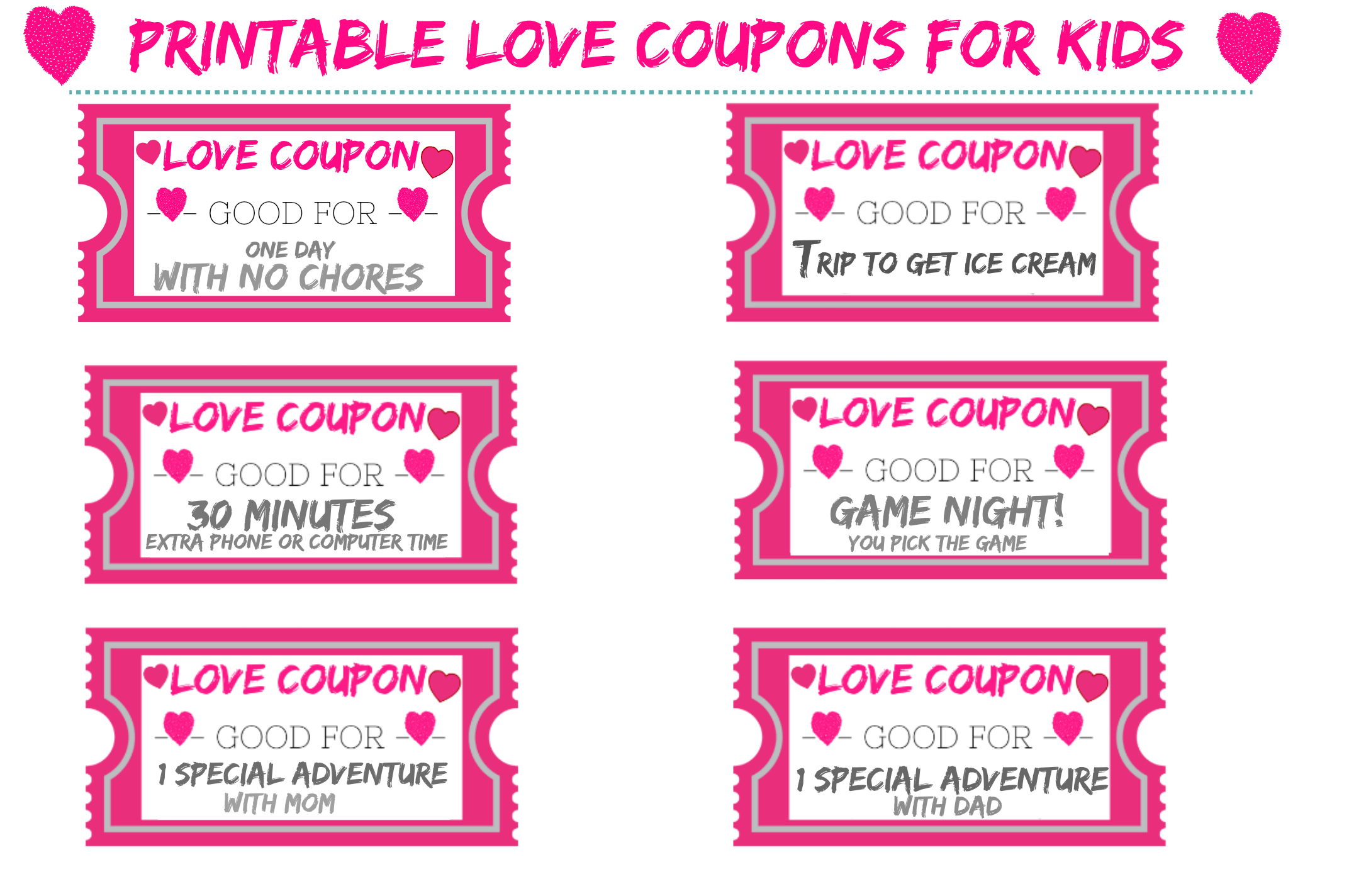 graphic about Printable Coupons for Kids called printable get pleasure from discount coupons for children for valentines working day Our
