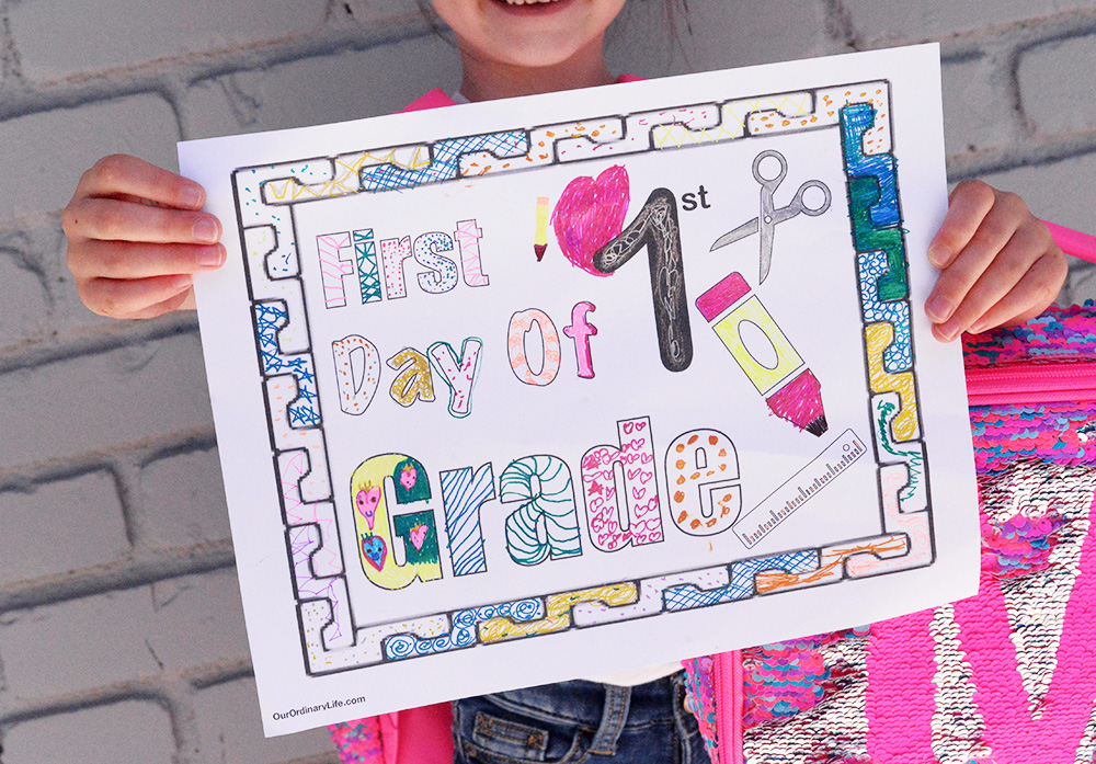 back to school first day of school printable