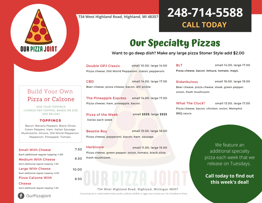 Our Pizza Joint Menu - Page 2 of 2