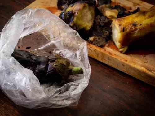 roasted eggplant in plastic