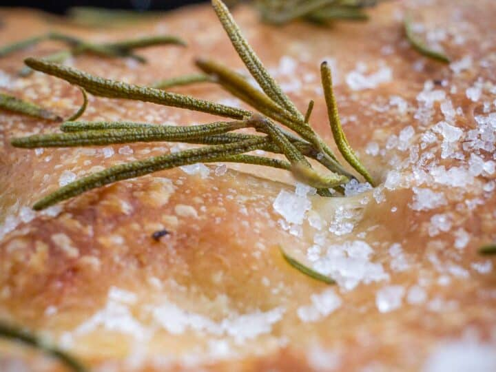 close up rosemary focaccia