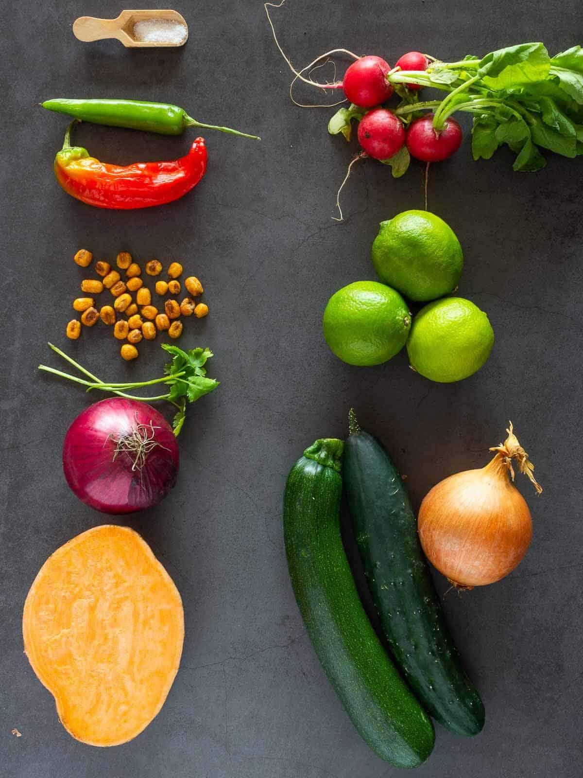Ceviche vegano Todos los ingredientes