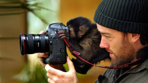 A baby capuchin monkey and photographer