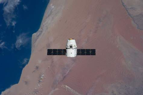SpaceX Dragon over the Atlantic coast of Namibia