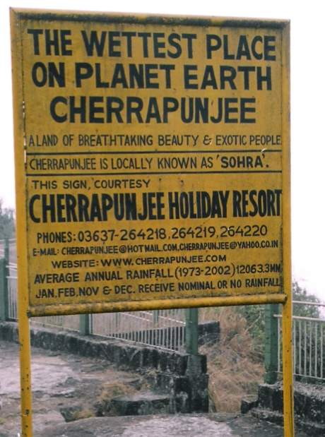 Wettest places on Earth 2: Cherrapunji record sign