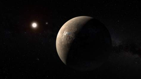Artist's conception of Proxima Centauri b, with Proxima Centauri and the Alpha Centauri binary system in the background