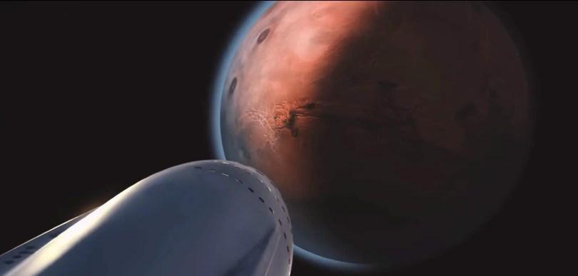 Interplanetary Transport System - Spaceship Close to Mars