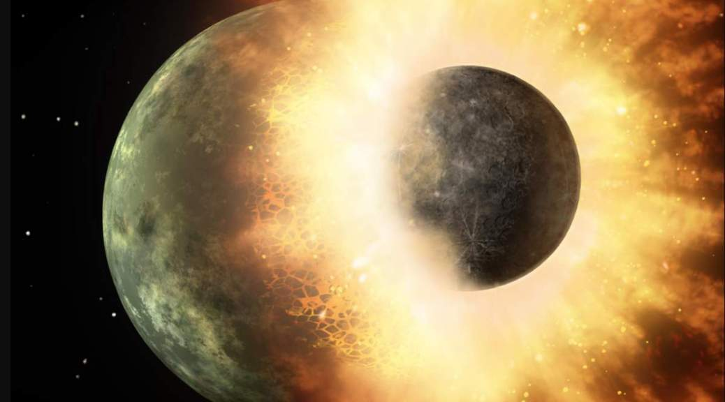 Collision between two planetary bodies