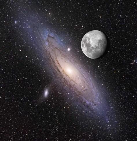 Andromeda Galaxy and the Moon
