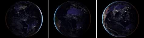 Earth from Space at Night - The Black Marble 2016, continents
