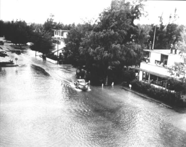 Flooded street in Midway Island after 1952 Kamchatka tsunami