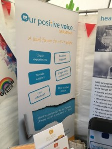 OPVG popup banner at sexual health stall