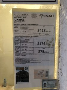 Uxmal ruins prices