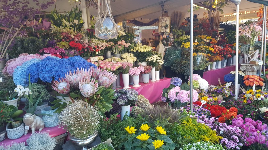 Viktualienmarkt Market Munich Germany Flowers Food Beer