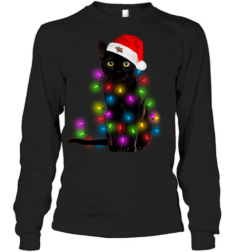 Long Sleeve Cat Christmas Shirt