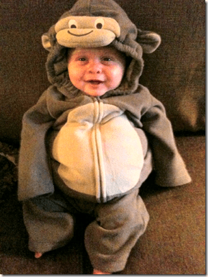 Landon in Halloween Monkey Suit
