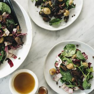 Warm Mushroom and Potato Salad with Wilted Greens