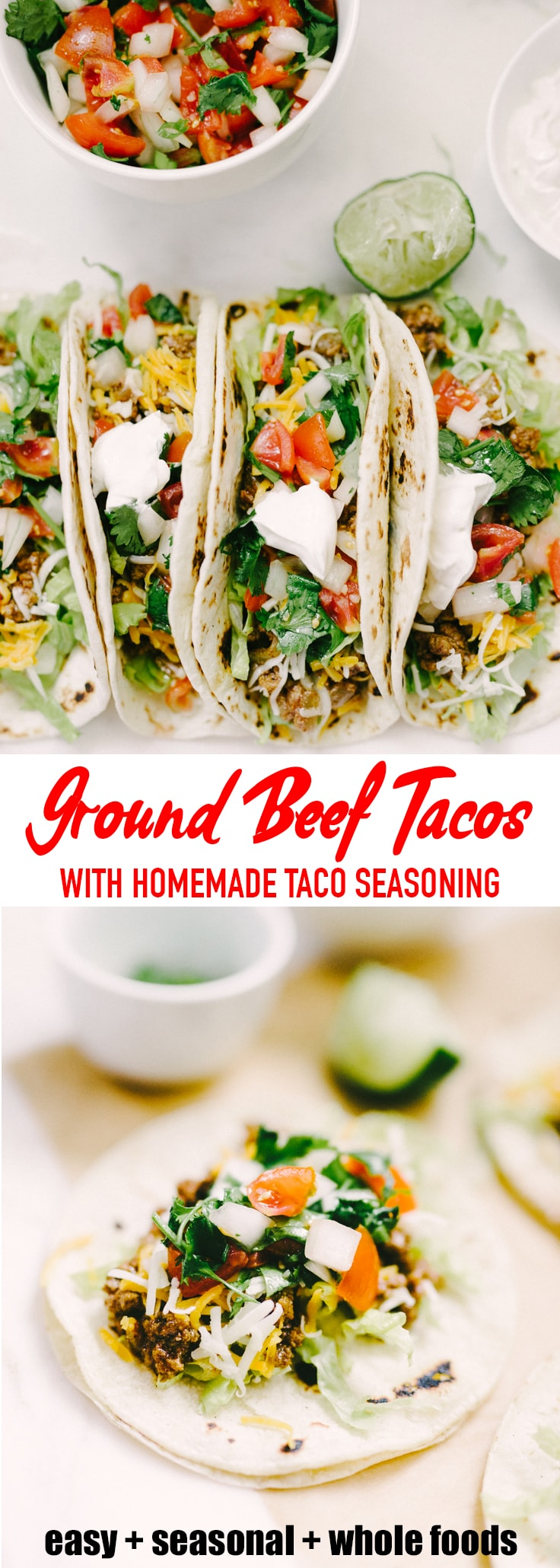 Ground beef tacos are one of our favorite easy and fast weeknight dinners. I made my own homemade taco seasoning and you should too. The process is simple, fast, and additive free! #homemade #tacoseasoning #tacos #beeftacos
