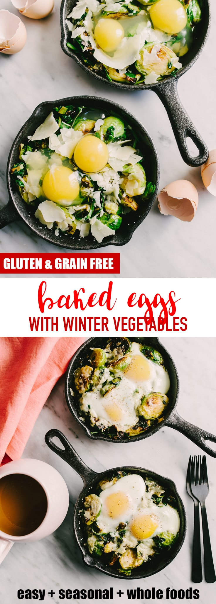 I love an easy and fast hot breakfast, especially one with fresh vegetables. This easy recipe for baked eggs with winter vegetables is perfect for cold winter mornings. With a little weekend prep, this recipe is ready in less than 5 minutes. #breakfast #winter #bakedeggs #brusselssprouts