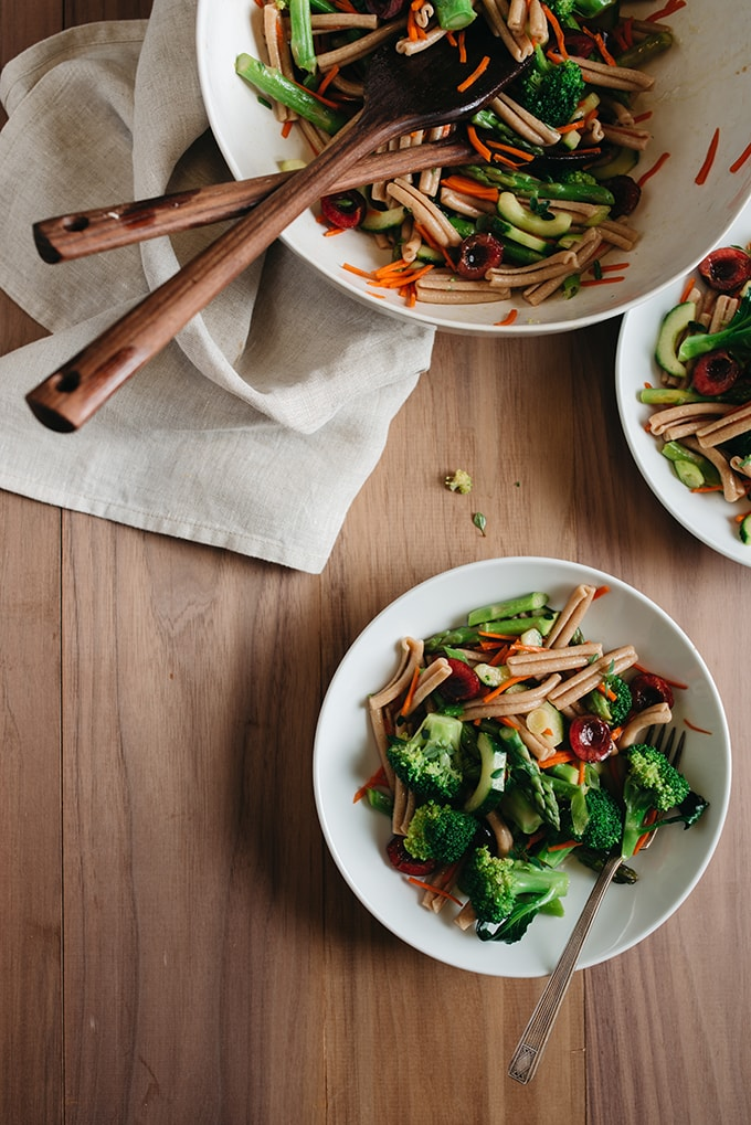 This asparagus pasta with broccoli and cherries salad is a lighter, healthier, seasonal version of the classic. It's fast and easy (30 minutes!) with whole wheat noodles that stand up well to a long marinade. You'll want to make this vegan pasta salad recipe all summer long!