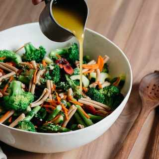 Asparagus Pasta Salad with Broccoli and Cherries