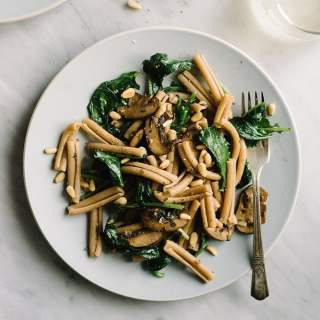Mushroom and Kale Pasta with Toasted Pine Nuts