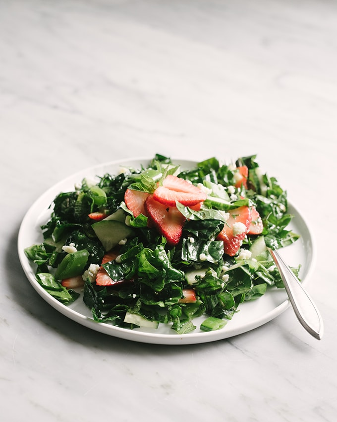 This strawberry kale salad is seasonal, nutritious, and refreshing. Make it meal by adding chicken or steak. Paleo, Whole 30, and vegan friendly.