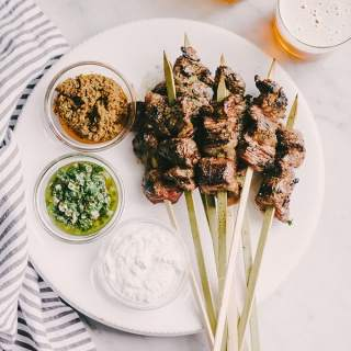 Grilled Skirt Steak Skewers with Dipping Sauce Trio